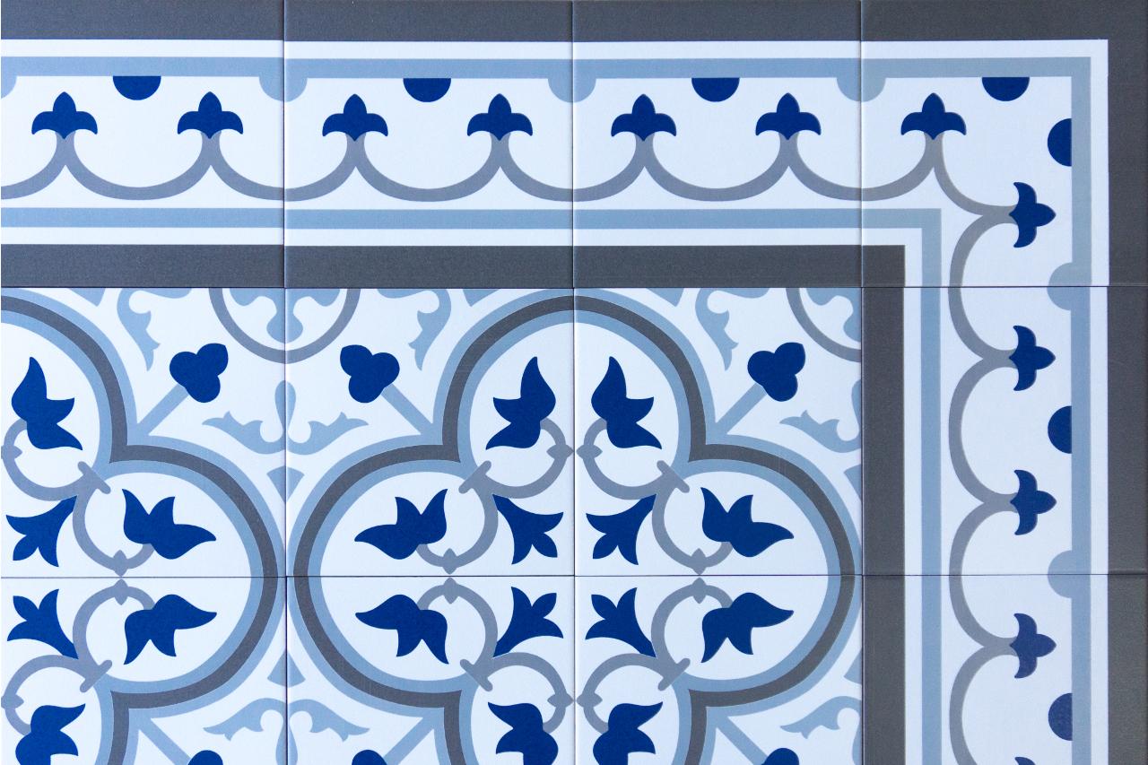 Vintage Bodenfliese Eckbordüre blau 20x20 Fliesen